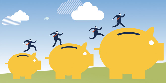 illustration of men jumping across piggy banks