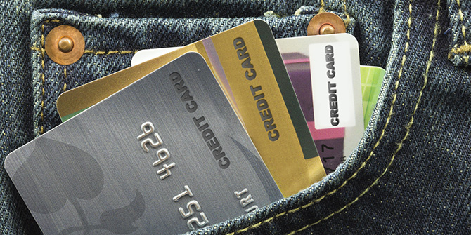 Credit cards in a jean pocket