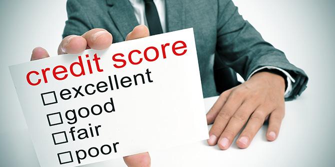 Sign reading credit score excellent, good, fair, poor