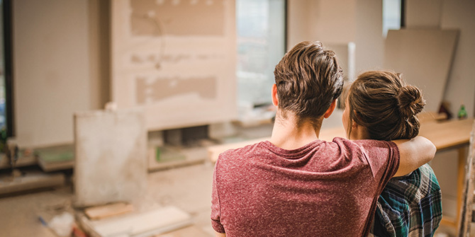 Couple renovating their apartment
