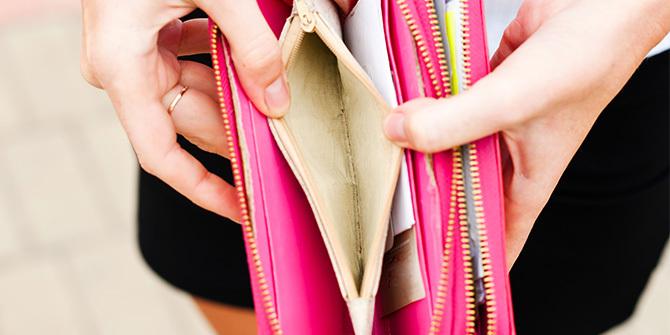 Open and empty women's wallet