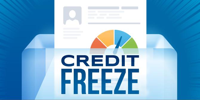 Illustrative credit report that says credit freeze.