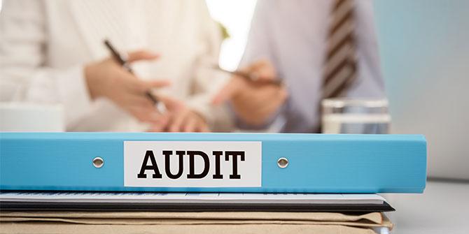 Audit folder sitting on a desk