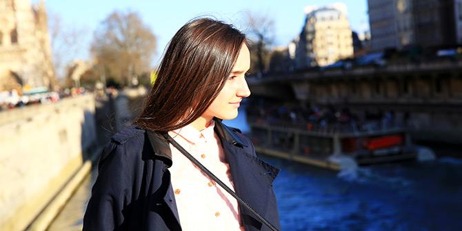 Teen walking in Paris