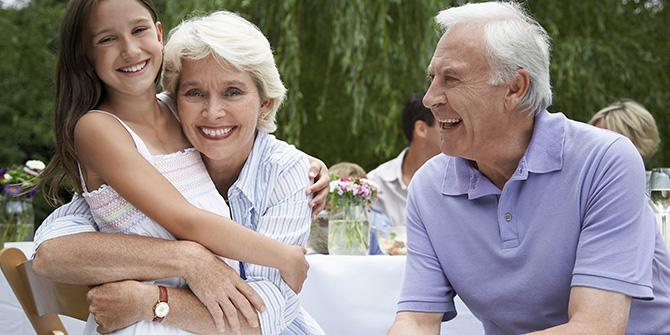 Older couple with grandchild