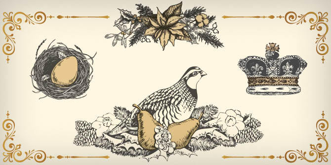 Illustration of golden egg in nest, holly and leaves, crown, partridge in a pear tree