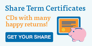 Share term certificates or CDs offer great rates.