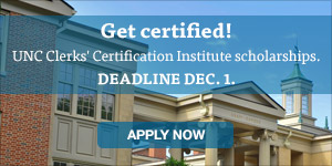 UNC SOG IIMC Clerks' Certification Institute scholarship deadline is December 1.
