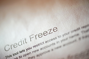 """Credit Freeze"" printed on paper"