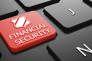 Financial security button on a keyboard