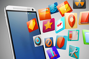 mobile app icons and mobile device