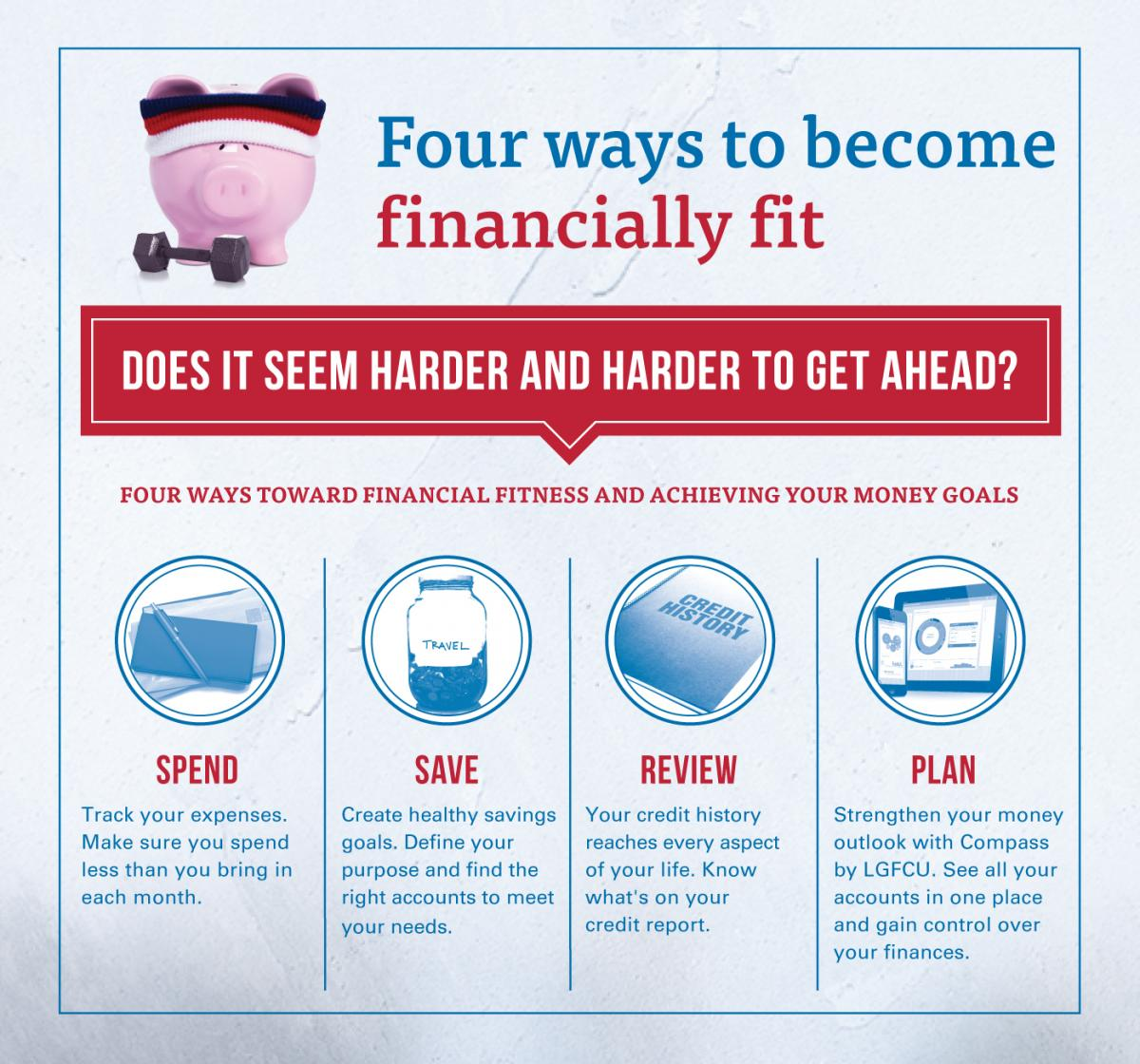 Four ways to become financially fit. Does it seem harder and harder to get ahead? Four ways toward financial fitness and achieving your money goals. Spend. Track your expenses. Make sure you spend less than you bring in each month. Save. Create healthy savings goals. Define your purpose and find the right accounts to meet your needs. Review. Your credit history reaches every aspect of your life. Know what's on your credit report. Plan. Strengthen your money outlook with Compass by LGFCU. See all your accounts in one place and gain control over your finances.