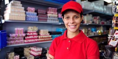 teen girl wearing job uniform at work