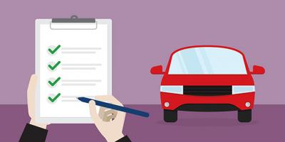Illustrative image of a car insurance and checklist