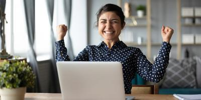 Woman smiling with excitement
