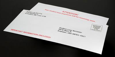 Student Loan Payment Resuming Notice in Envelope