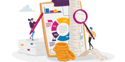 Illustration of accounting and bookkeeping with graphs, and charts